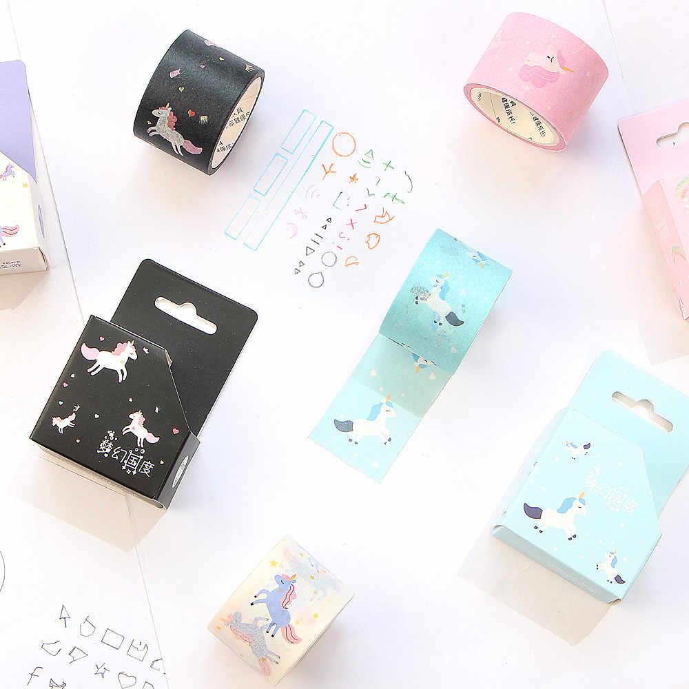 Ruban de masquage mignon Kawaii licorne Washi ruban adhésif décoratif pour enfants bricolage Scrapbooking journal Photos Albums