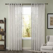 ChadMade Isla Embroidery Sheer Curtain Grommet White Sheer Curtain Voile Drapery For Rod Size Customized (1 Panel)