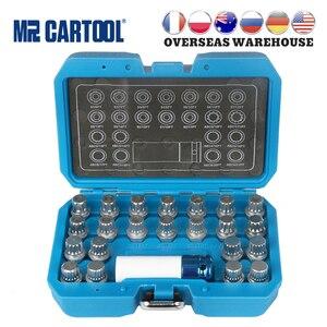 Mr cartool 23 pçs bloqueio de roda lugnut anti-roubo parafuso remoção chave soquete conjunto para vw audi com 1/2 Polegada (12.7mm) adaptador de soquete