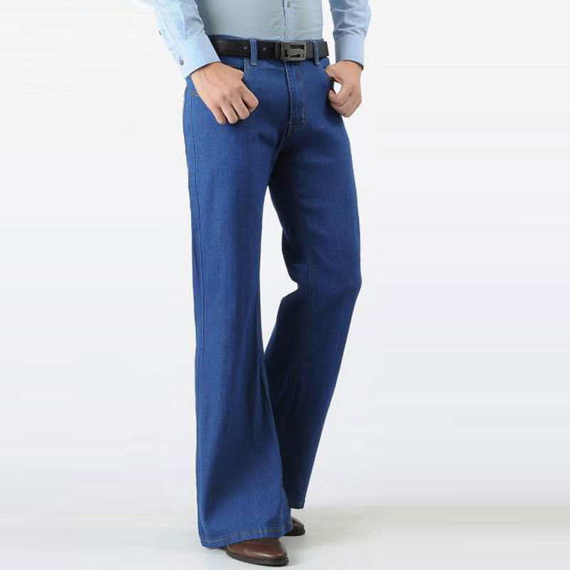 Color: Blue Black Jeans Men Fashion Retro Big Flare Pants 2020 Men's New Loose Denim Flare Pants Men's Wide Feet Slim Thin Pants
