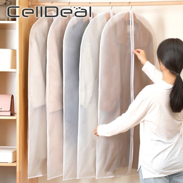 CellDeal 5/10PCS Clothes Hanging Garment Dress Clothes Suit Coat Dust Cover Storage Bag Pouch Case Organizer Wardrobe Hanging 1