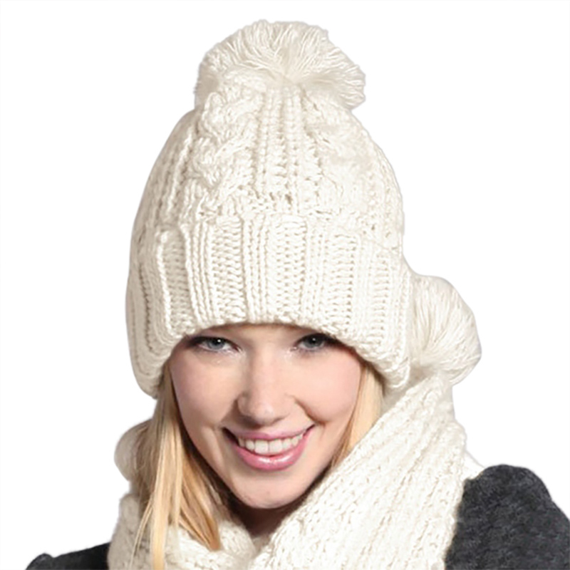 Autumn Winter Trend Ladies 8 Word Pattern Wool Scarf Hat Set Solid Color New Vcqy