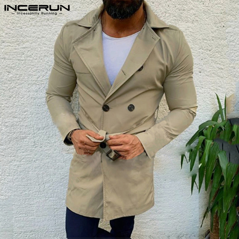 INCERUN Men Fashion Solid Double Breasted Classic Trench Coats British Rtro Casual Belt Mens Couple Windbreaker Abrigos Hombre 7