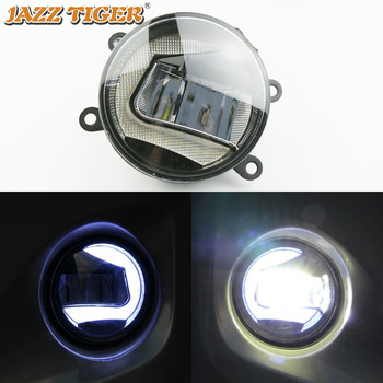 JAZZ TIGER 2-in-1 Functions Auto LED Daytime Running Light Car LED Fog Lamp Projector Light For Peugeot 2008 2013 - 2018 2019