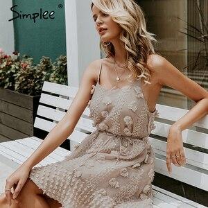 Image 5 - Simplee Elegant flower embroidery short dress Women sexy spaghetti strap summer sundress Female lace up mini beach dress 2019
