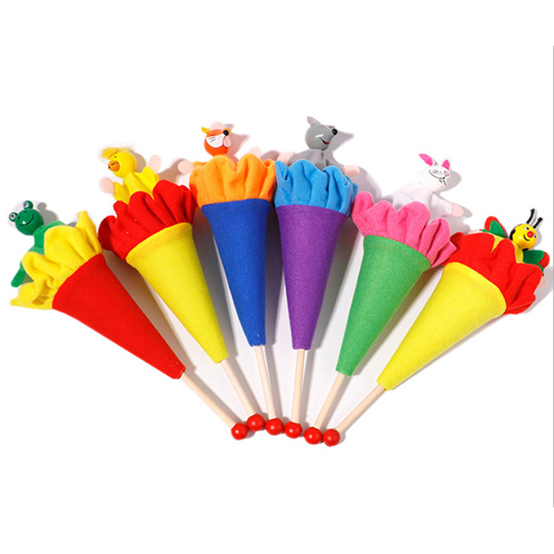 6 Pcs/Set Animal Telescopic Rod Baby Toys Baby Hand Grip Rod Toy Educational Toys Rattle Mobile Toy For Baby Early Learning