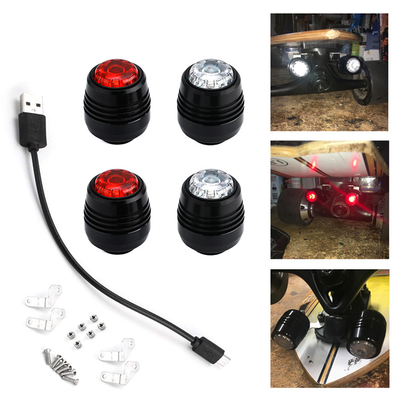 4Pcs Skateboard LED Lights Night Warning Safety Lights For 4 Wheels Skateboard Longboard
