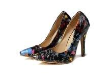 Zapatos de tacón con grafiti de colores para mujer, calzado Sexy sin cordones con punta en pico de colores variados, tacones finos poco profundos para fiesta y Club