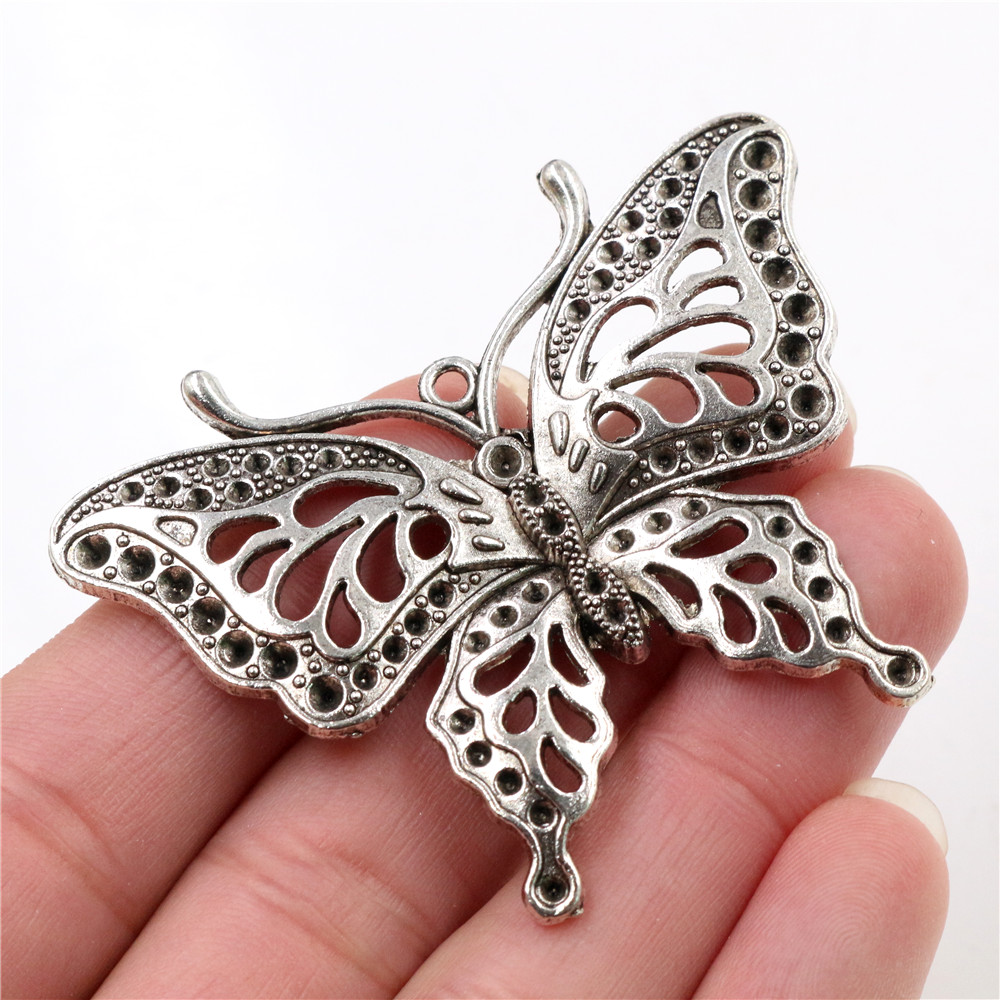 10 butterfly  charms silver plated