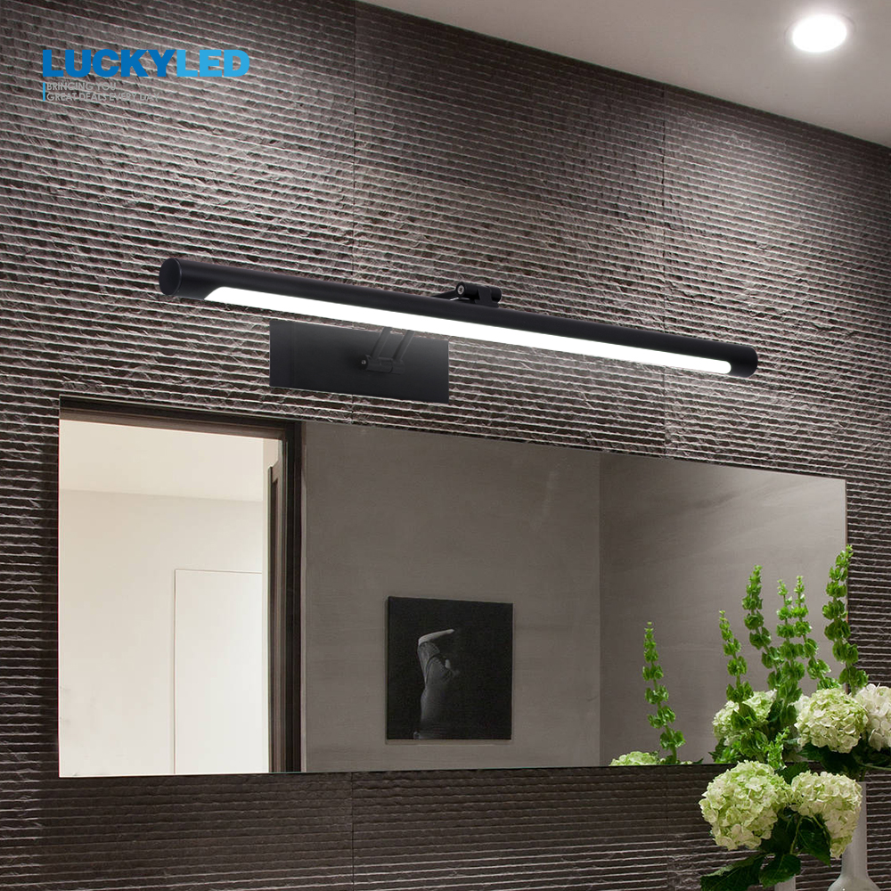 LUCKYLED Modern Led Mirror Light 8W 12W AC90-260V Wall Mounted Industrial Wall Lamp Bathroom Light Waterproof Stainless Steel(China)