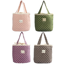 Casual Portable Lunch Bag Dots Insulated Canvas Thermal Food