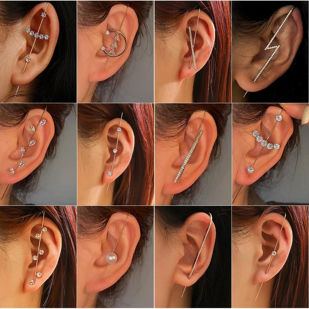 New style women's ear pin wrap-around hook earrings wrap around the auricle diagonal stud copper inlaid zircon pierced earrings
