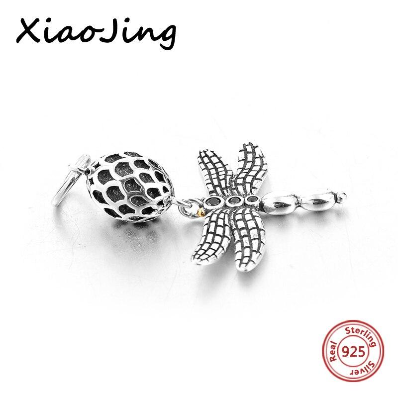 YF 5PCS 925 Sterling Silver Dragonfly Charm Pendant Fit Leather Bracelet DIY Jewellery Making 11mmx12.5mm