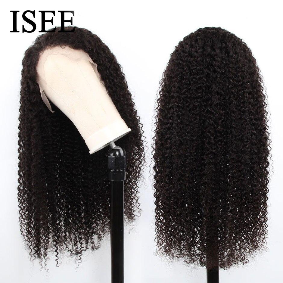 Kinky encaracolado perucas de cabelo humano 150% densidade 13x4 peruano perucas de cabelo humano cor natural remy isee frente do laço do cabelo perucas de cabelo humano - 3