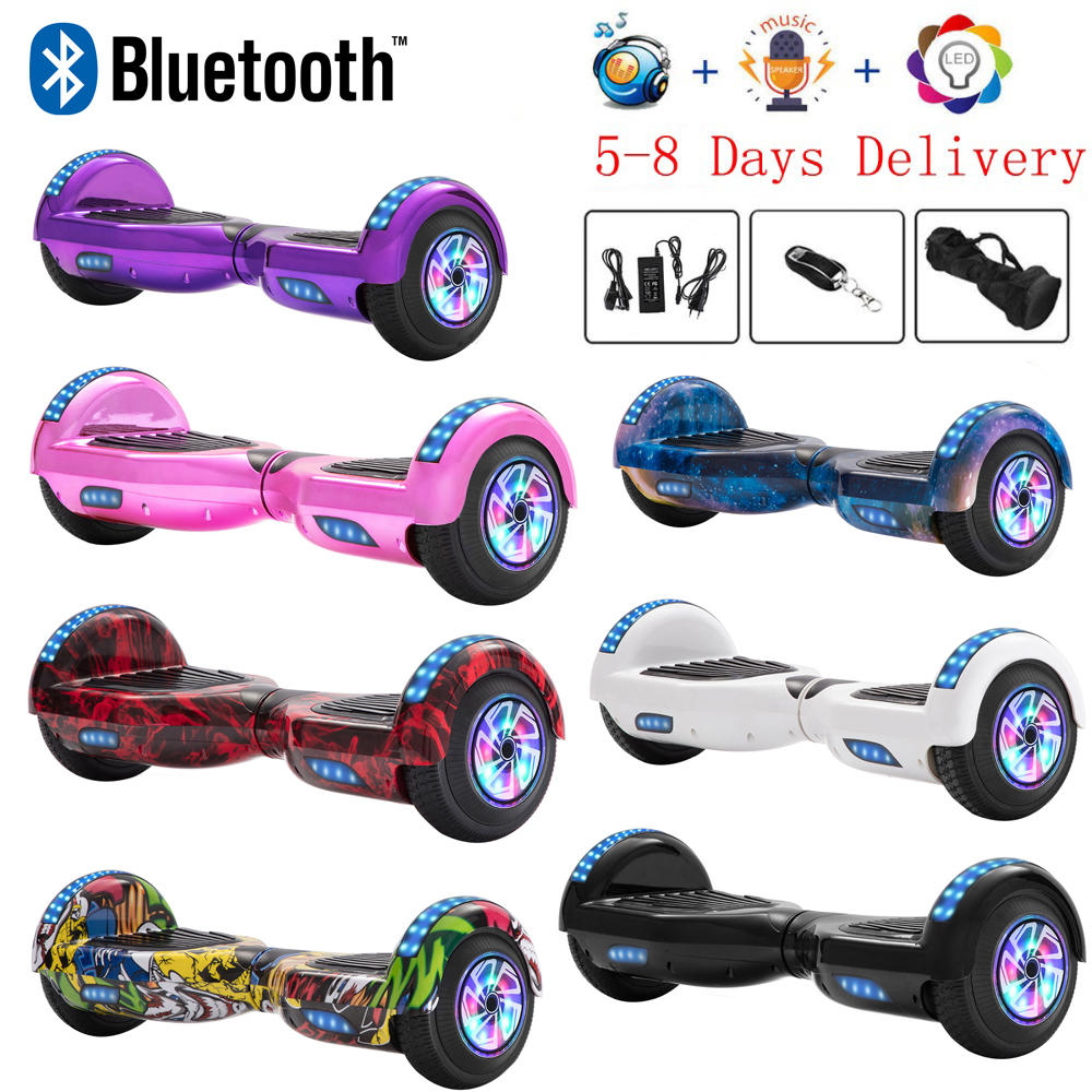Hoverboard 6.5 Inch Self-Balancing Scooter LED Electric Scooters Two Wheels Skateboard Smart Balance Board Bluetooth+Key+Bag