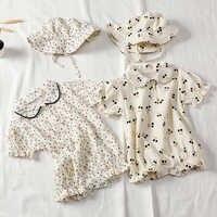 Mono para bebé niña, moda para recién nacido, monos de princesa de algodón Floral, ropa para niño, Body para niña bebé + sombrero
