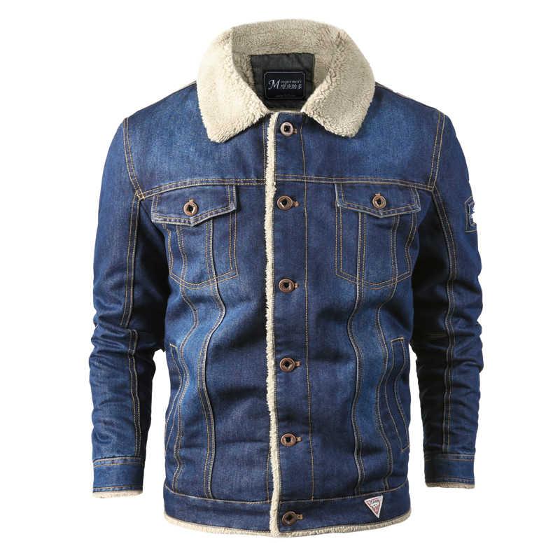Chaqueta de mezclilla para hombre, chaqueta de lana, abrigos de invierno, chaqueta de Jeans militares, chaqueta de bombardero grueso para hombre, chaqueta de gran tamaño