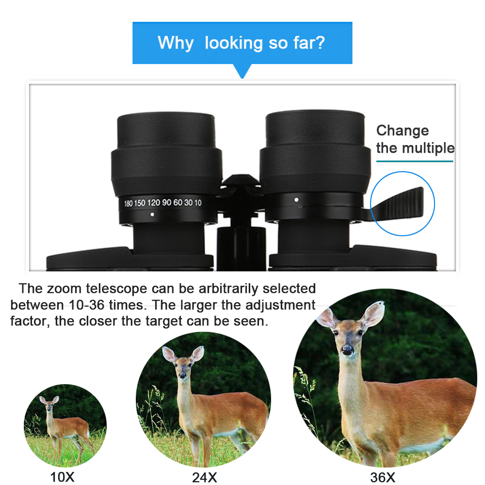 Tools : Borwolf 10-180X90 High Magnification HD Professional Zoom powerful Binoculars Light night vision for hunting telescope monocular