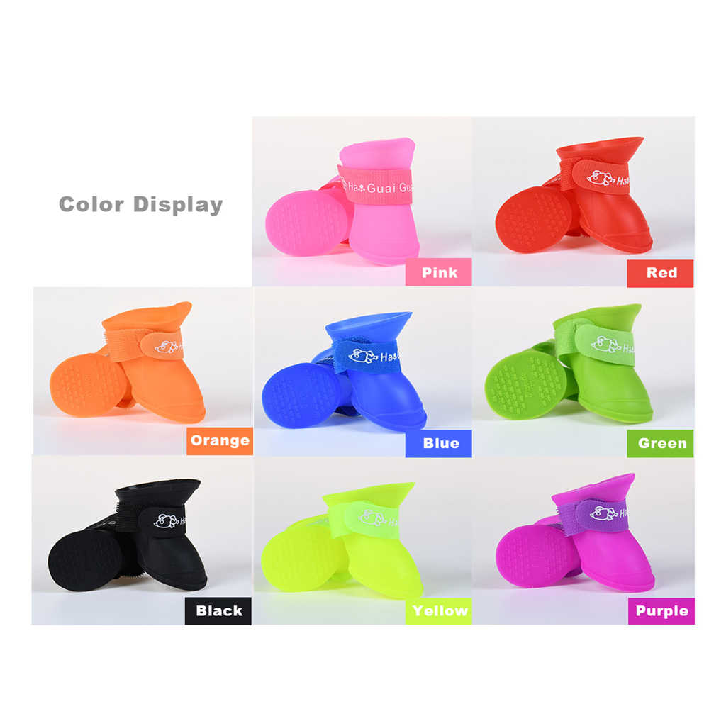 4 шт./партия, резиновая обувь для собак, силиконовые непромокаемые сапоги ярких цветов, непромокаемые ботиночки для больших маленьких собак, кошек, не скользящие, продукт для улицы S/M/L/XL/X