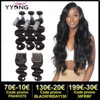 Yyong Hair 3 Bundles Brazilian Body Wave Bundles With Closure 4x4 5x5 Remy 4Pcs/Lot Human Hair Weave Bundles With Lace Closure