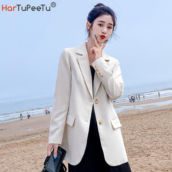 Women White Blazer Oversize Tunic Fit Long Sleeve Jacket 2020 Autumn Winter Office Coat Girls Korean Style Basic Tops Outwear