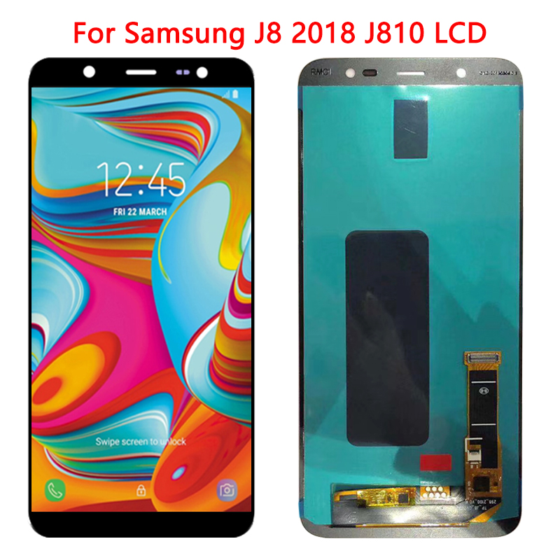 SUPER AMOLED J810 <font><b>LCD</b></font> For Samsun Galaxy <font><b>J8</b></font> <font><b>2018</b></font> J810 <font><b>LCD</b></font> Display 6.0''Touch Screen Digitizer Assembly SM-<font><b>J8</b></font> <font><b>2018</b></font> J810 J810F <font><b>LCD</b></font> image