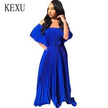 KEXU Women Sexy Off Shoulder Fashion Loose Pleated Dress Summer Female Vintage Elegant Casual Outside Lady Plus Size XXL