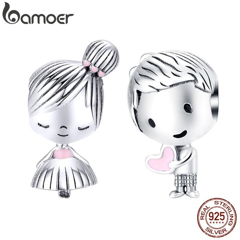 Bamoer menino e menina charme para prata original 925 pulseira genuíno 925 prata esterlina contas de metal presentes dos namorados scc1334