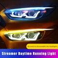 2 stücke LED DRL Auto Tagfahrlicht Flexible Wasserdichte Streifen Auto Scheinwerfer Weiße Blinker Gelb Bremse Fluss Lichter 12V