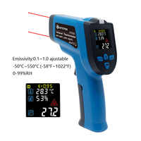 IR Infrarot Thermometer Hygrometer 0-99% RH Digital Non-kontakt Dual-Doppel Laser Pistole Bunte LCD K Thermoelement KT550D