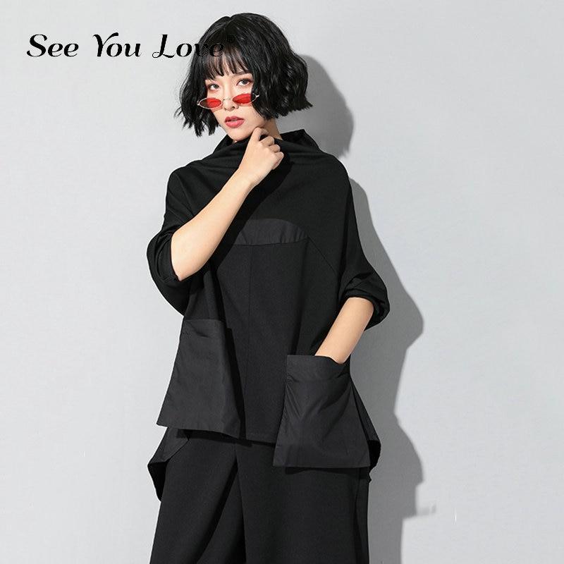 See you love New Autumn Winter High Collar Long Sleeve Black Loose Pocket Stitch Irregular Hem Big Size T shirt Women Fashion