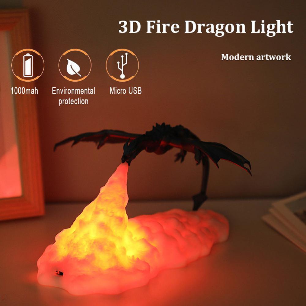 Lámparas LED de dragón impresas en 3D para el hogar, luz nocturna, gran oferta, recargable por USB, los mejores regalos para chico