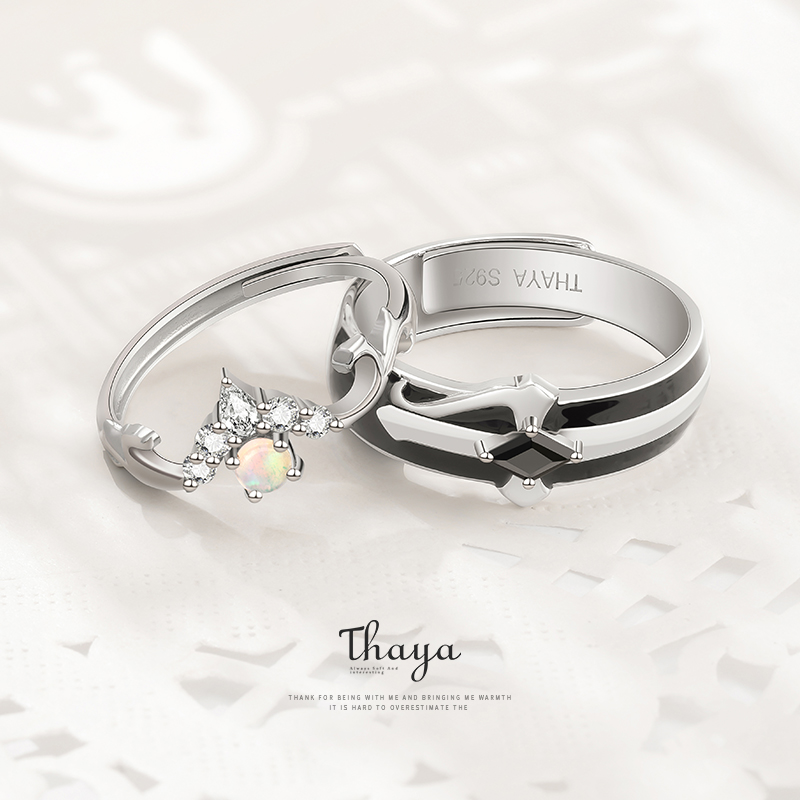 Fairy Tales Series Thaya S925 Sterling Silver Rings Colorful Opal Design Couple Rings For Women Girl Luxury Jewelry(China)