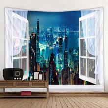 Miasto w nocy scena wydrukowano duża ściana gobelin tanie Hippie czeski gobeliny ścienne Mandala na ścianę dekoracja tanie tanio CN (pochodzenie) City Night AUBUSSON piece pieces Pranie ręczne Można prać w pralce Inne 2020 Scenic PRINTED Zwykły
