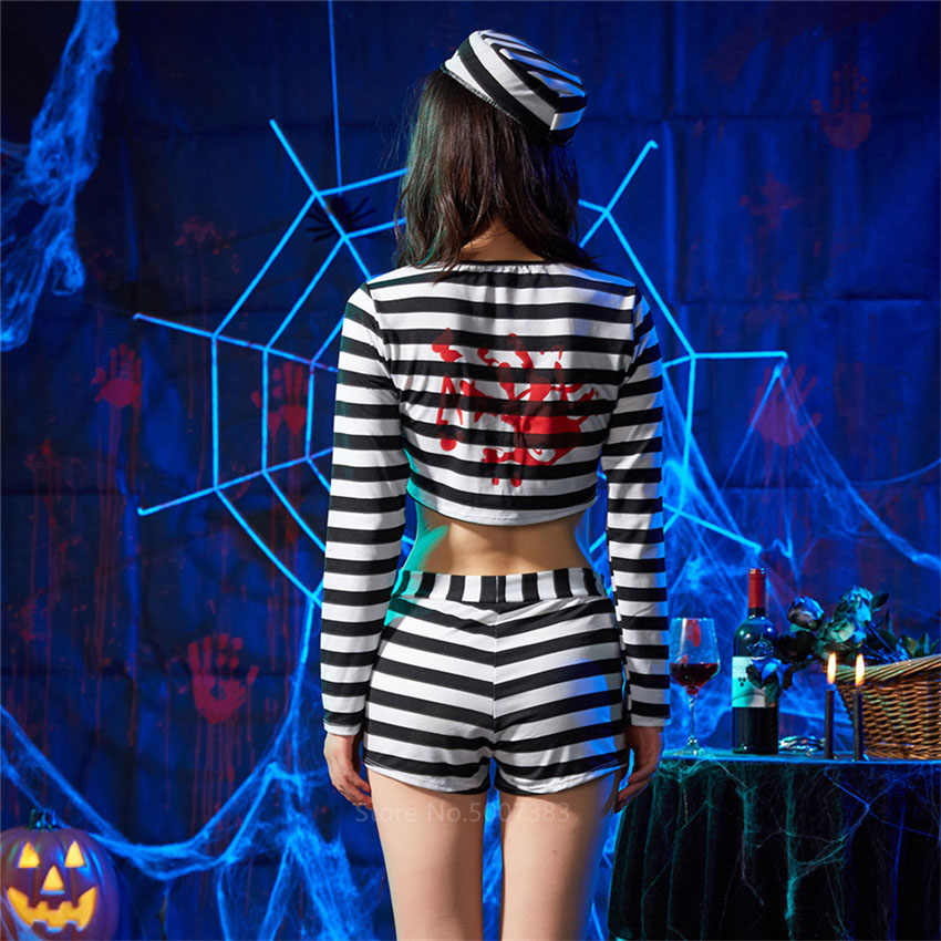 Halloween Vrouwen Horroer Scary Ghost Gevangene Cosplay Kostuum Carnaval Party Sexy Volwassen V-hals Streep Gevangenis Pak Top Broek Set
