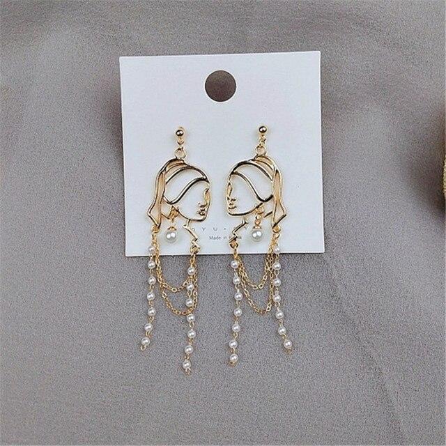 S925 Needle Pearl Long Tassel Abstract Lines Girl Portrait Earrings Hyperbole Personality Dangle Earrings Women Jewelry 4
