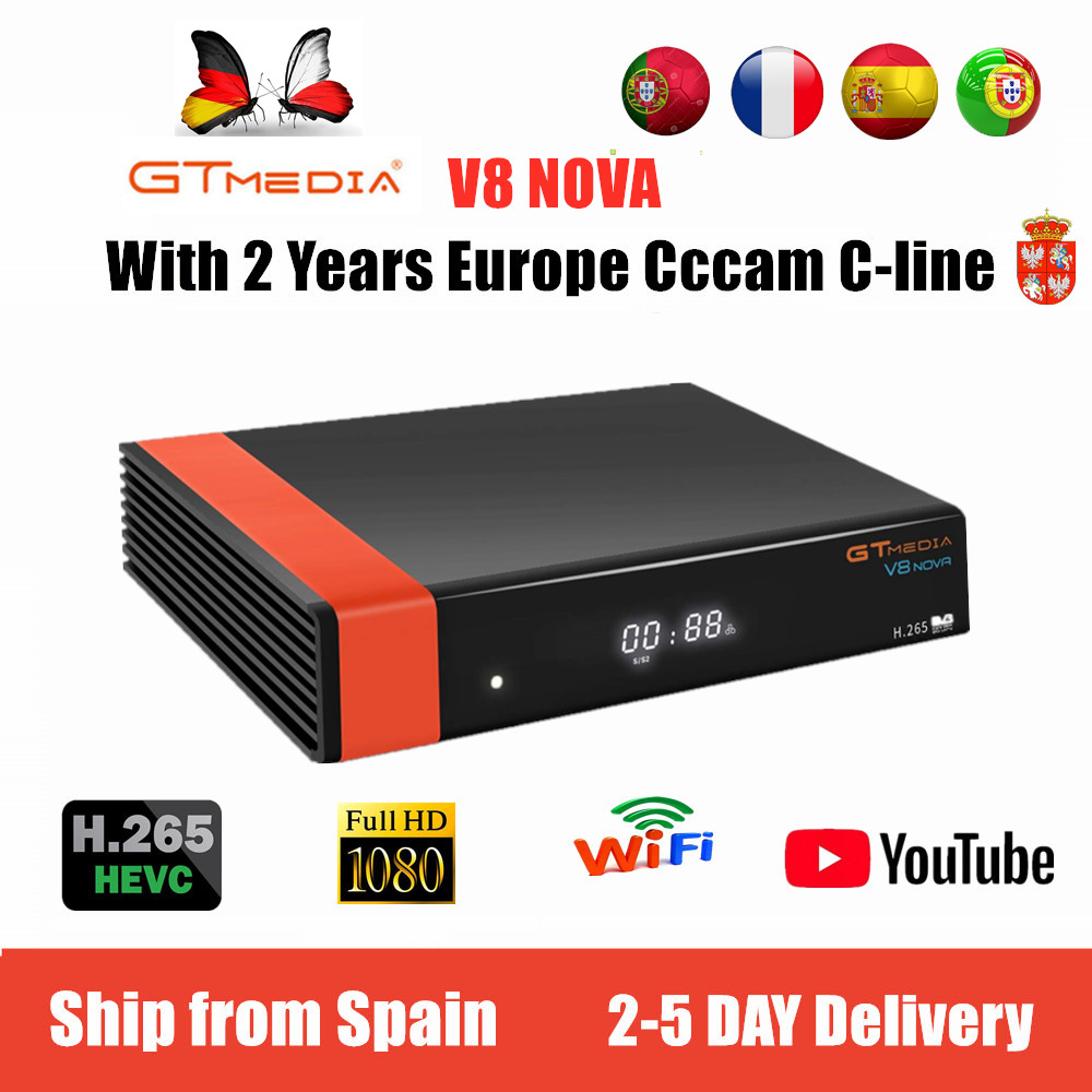 Gt Media V8 NOVA From Freesat V9 Super TV Receiver Satellite Support Built-in WIFI H.265 DVB-S2 Cline Cccam Box Spain Tv Decoder
