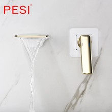 Wall Mounted Waterfall Basin Faucet White and Gold washbasin faucet crane Dual Holes Hot Cold Water Sink Mixer Tap.