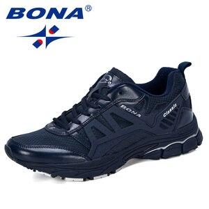 Image 3 - BONA 2019 Yeni Tasarımcı koşu ayakkabıları Erkekler Zapatillas Hombre Deportiva Yüksek erkek ayakkabı Eğitmen Sneakers Koşu yürüyüş ayakkabısı