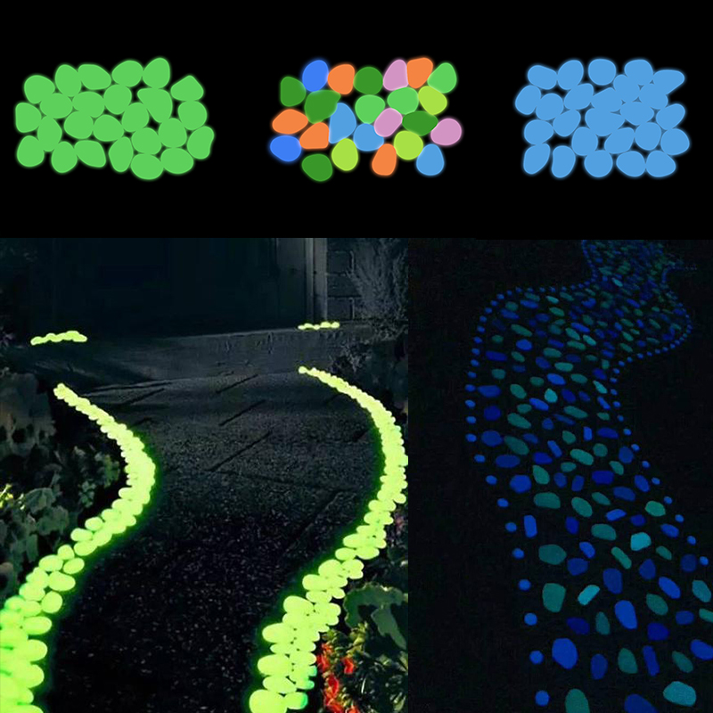 50pcs Glow Pebbles Luminous Stone Rocks Glow In The Dark Garden Pebbles For Walkways Path Patio Lawn Pool Aquarium Garden Decor