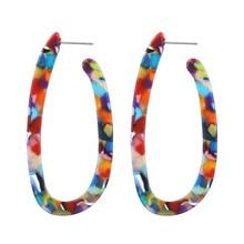Bohemia Colorful Long Acrylic Drop Earring for Women Statement Dangle Stud Earrings Tortoiseshell Leopard Earring Female Jewelry