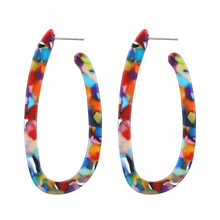 Bohemia Colorful Long Acrylic Drop Earring for Women Statement Dangle Stud Earrings Tortoiseshell Leopard Earring Female Jewelry