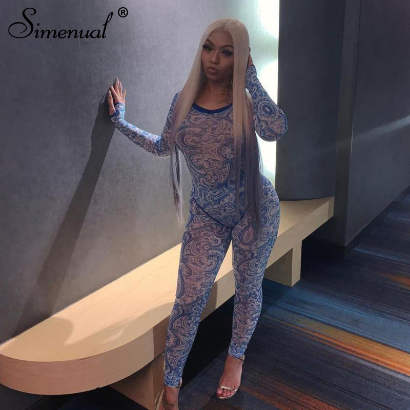Simenual Mesh Hot Sexy Transparent Two Piece Set Women Print Fashion 2020 Skinny Outfits Long Sleeve Bodysuit And Pants Sets