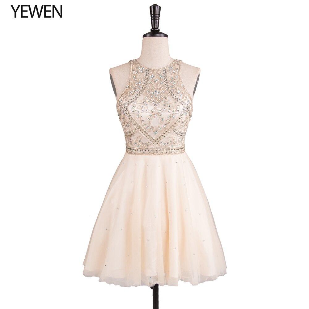 Champagne Beading Crystal Prom Dress Short Elegant Sleeveless Cocktail Dresses Special Occasion Dresses Vestido De Coctel