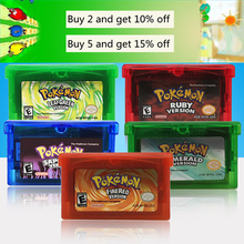 ND 32 Bit Video Game Cartridge Console Card for Nintendo GBA Pokeon Emerald FireRed LeafGreen Ruby Sapphire with Shiny Label