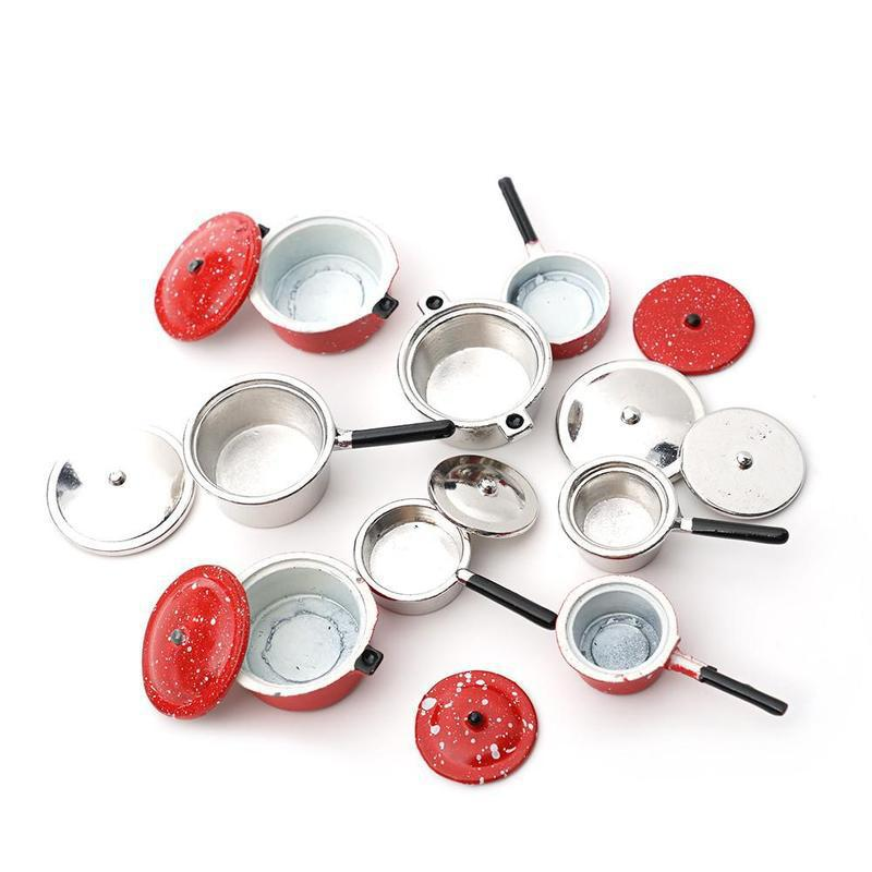 Dollhouse Miniature 1:12 Mini Pot Set Diy Doll House Kitchen Furniture Accessories Red Silver Soup Frying Milk Pan