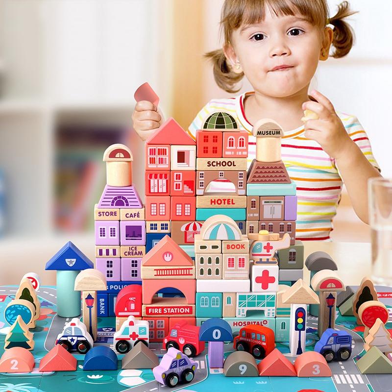 115 pièces enfants jouets en bois jouets ville trafic scènes forme géométrique assemblé blocs de construction début jouets éducatifs pour les enfants