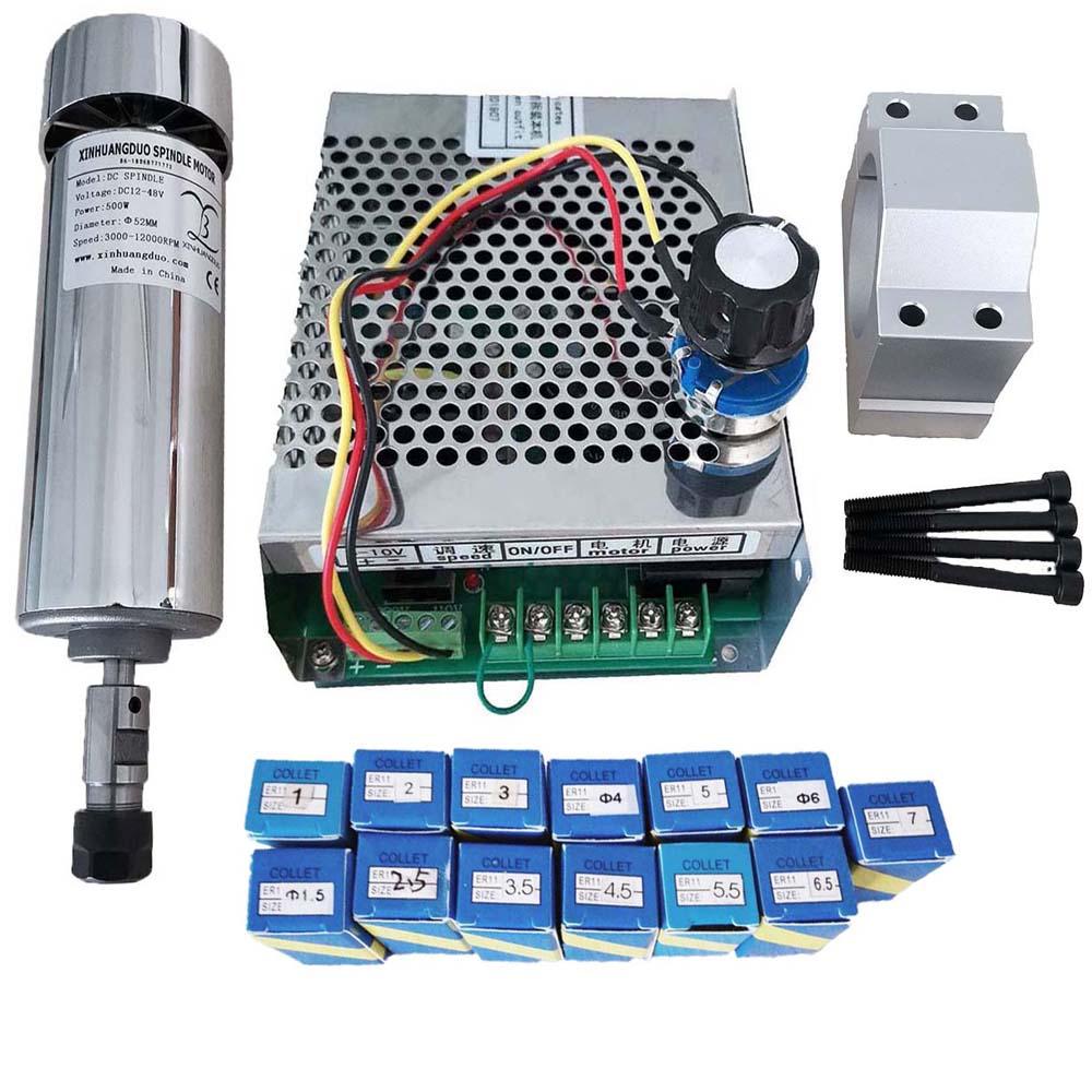 Комплект шпинделя с воздушным охлаждением 500 кВт с ЧПУ, патрон ER11 Вт, двигатель шпинделя + регулятор скорости питания для гравировки