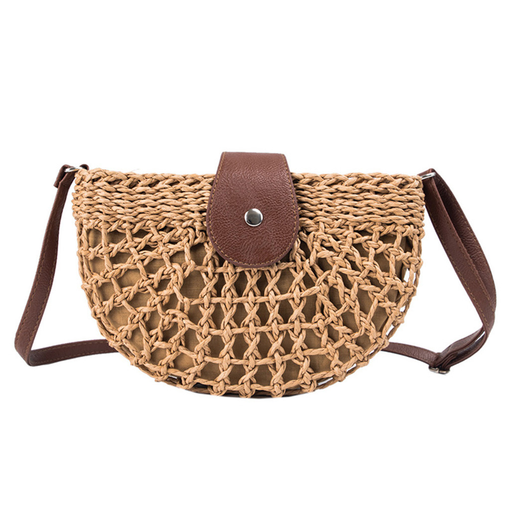 Women Shoulder Small Bag Summer Straw Bag Handbags Wild Semi-circular Bag Luxury Handbag Spring And Summer High Quality Bag 0109