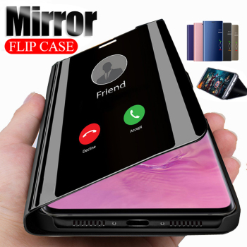 mirror flip case for huawei y9 y7 y6 prime y5 2019 y6s y9s 2020 stand cover on the hawei y5 lite y6 y7 prime y9 2018 hoesje caso image